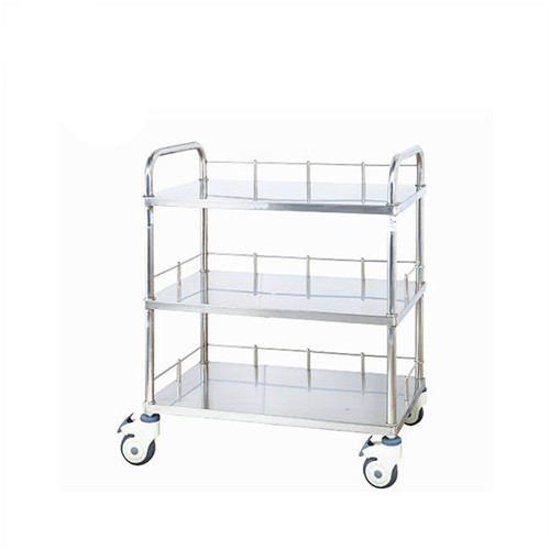 JQ-B15 hospital and clinic stainless steel 3 tier trolley