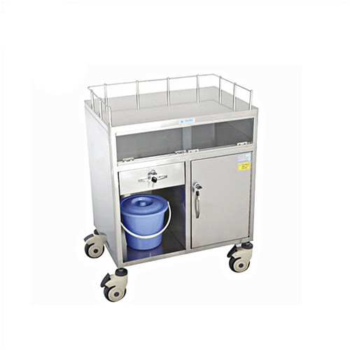 JQ-B23 Half closed stainless steel anaesthesia trolley with two drawers