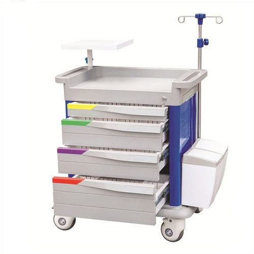 JQ-659 emergency cart with defibrillator shelf and four drawers