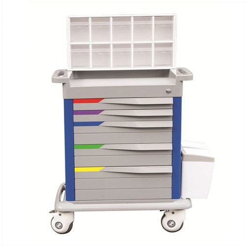 JQ-673 Colorful medical used Anesthesia Cart with five drawers